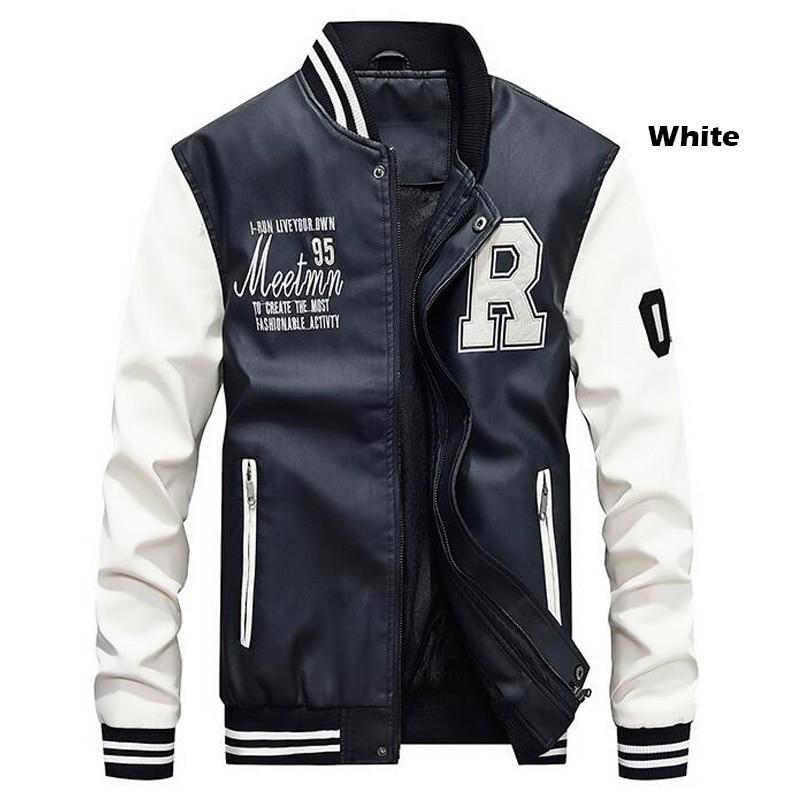 HTB1Wb6zbRWD3KVjSZKPq6yp7FXad New Men Pu Faux Leather Jacket 2019 Brand Embroidery Baseball Jackets Male Casual Luxury Winter Warm Fleece Pilot Bomber Coat