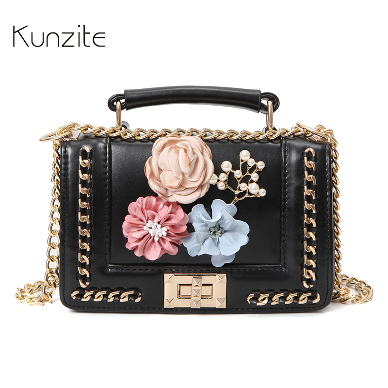 Kunzite Brand Printing Flower Summer Flap Women Luxury Handbags Designer Bags High Quality PU Leather Chain