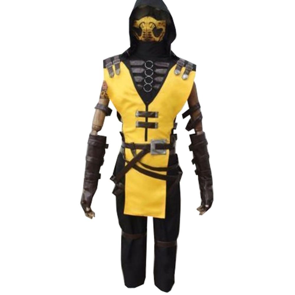 2018 Game Mortal Kombat X Scorpion Hanzo Hasashi Cosplay adult costume full set custom made outfit