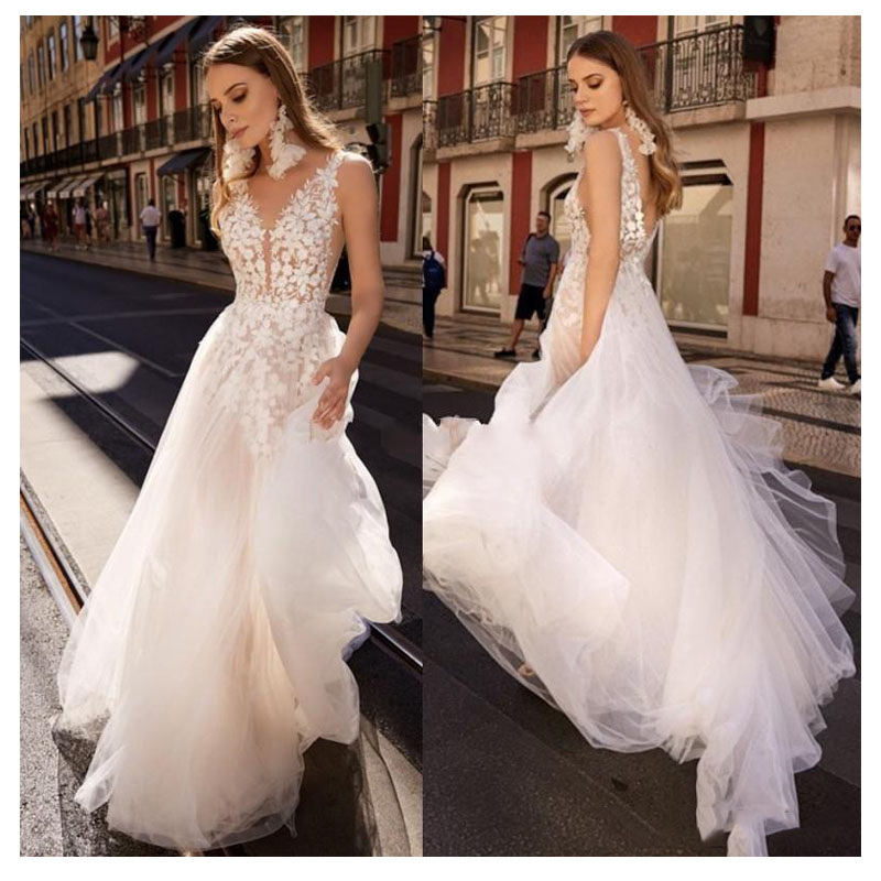 LORIE Boho Wedding Dress 2019 Appliqued with Flowers Elegant Tulle A Line Sexy Backless Beach Bride