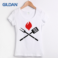 8d21b8c17 Famous t shirt for women Casual Basic Solid BBQ barbecue tee shirts Short  Sleeve cotton female