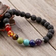 2019 Popular black volcanic stone handmade beaded bracelet yoga natural jewelry