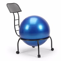 Balance Ball Chair Exercise Yoga Ball Chair Adjusted With Stability Ball Pump Metal Frame With Wheels