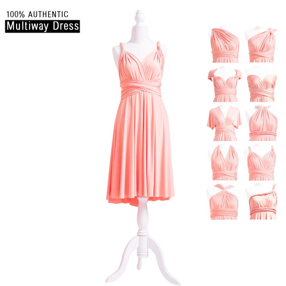 Peach Coral Bridesmaid Dress Short Infinity Dress Peach Pink Convertible Dress Multi Way Wrap Dress With Straps Style