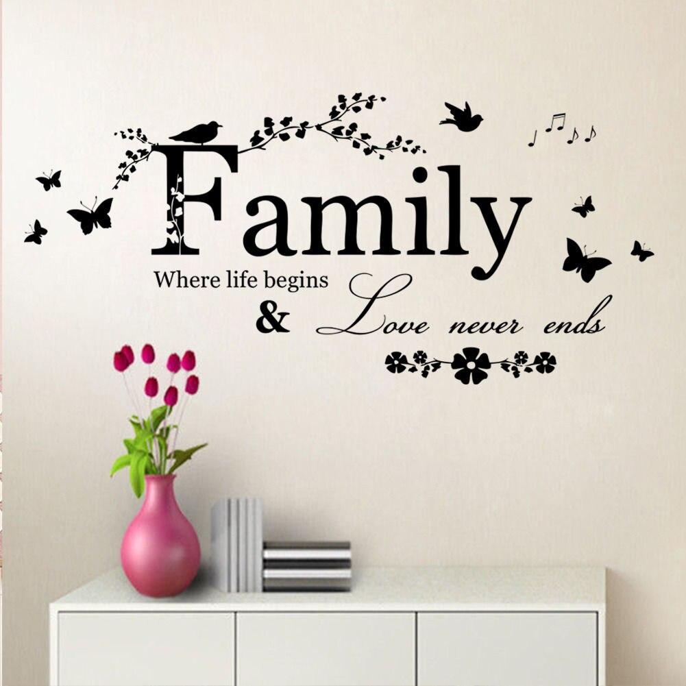 Keluarga di mana kehidupan dimulai kupu kupu wall art penawaran sticker vinyl decal removable decor di wall stickers dari rumah taman aliexpress com