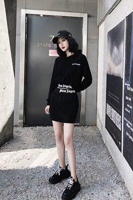 Automne Hanche pièce Casual 1 Capuche Nouveau Deux Foncé Femmes Des Sport Jupe Sac À Imprimé Chemise 2019 Mode Costume tRgBtw
