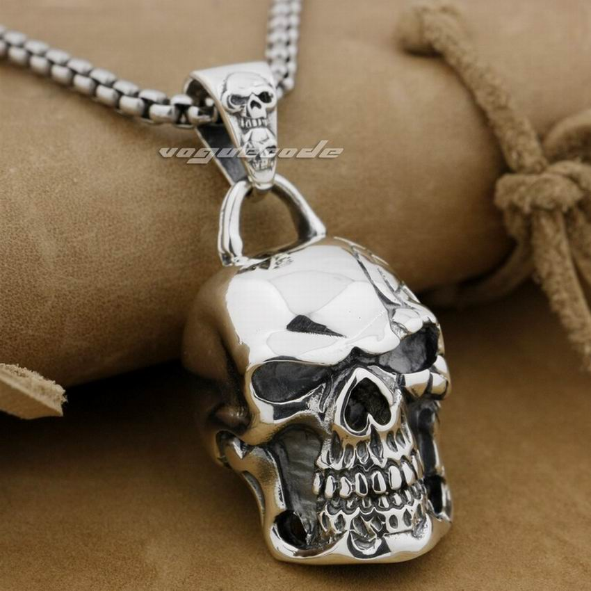 Huge Heavy Skull 925 Sterling Silver Mens Biker Rocker Punk Pendant 9E008