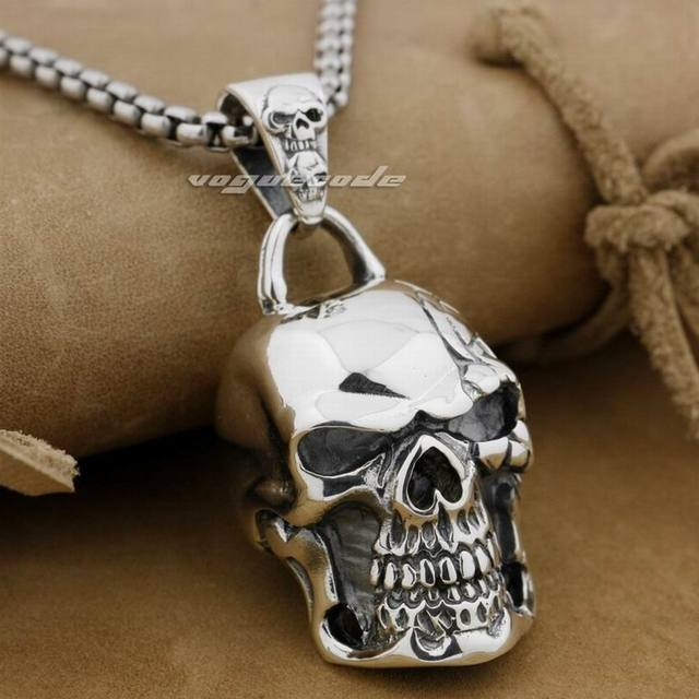 Huge & Heavy Skull 925 Sterling Silver Mens Biker Rocker Punk Pendant 9E008