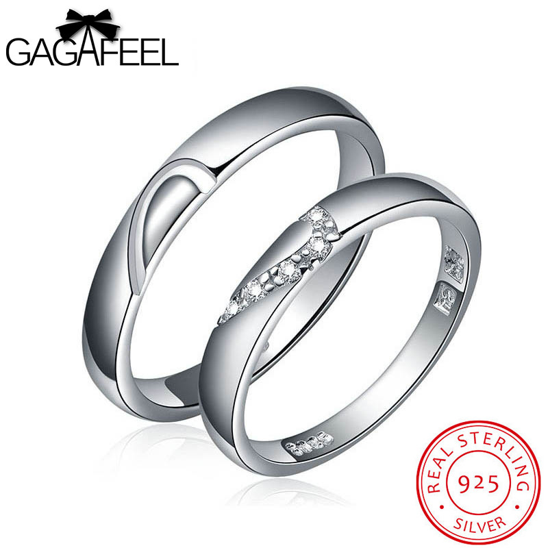 GAGAFEEL Wedding Jewelry real 925 sterling silver gem crystal zircon couple lovers rings title=