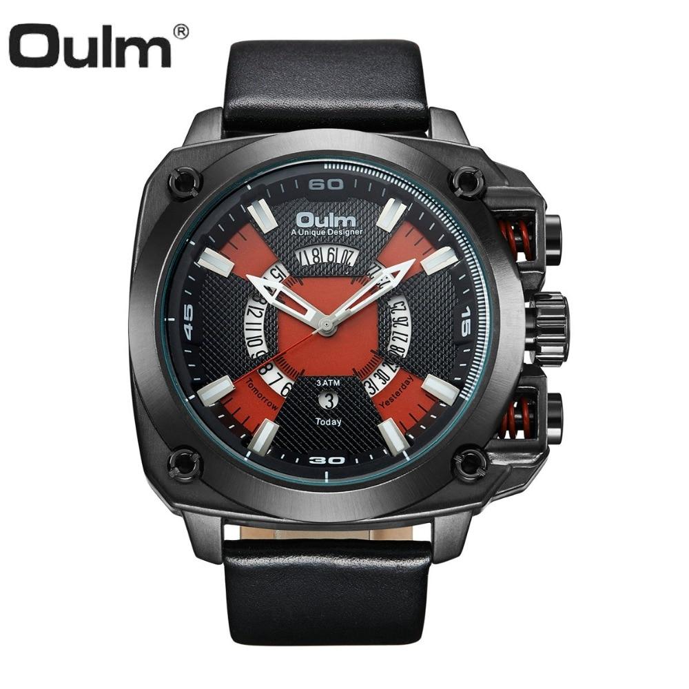 купить OULM Unique Square Watch Men Quartz Analog Clock Leather Strap Contrast Color Red Dial Fashion Creative Waterproof Wrist Watches по цене 1804.27 рублей