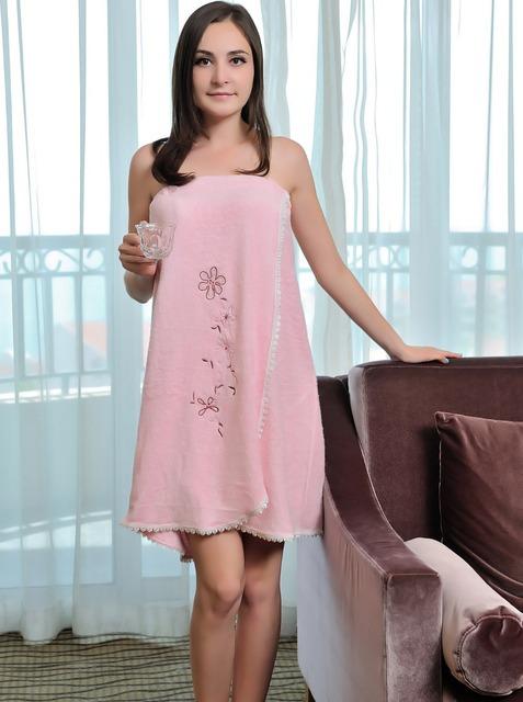 Moda bordado estilo toalla de fibra de bambú del verano de las mujeres vestido de noche