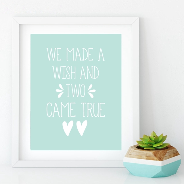 twin quote canvas art prints we made a wish and two came true twin
