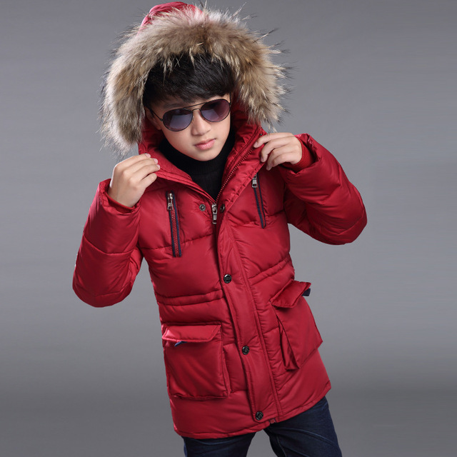 New 2016 Children Winter Jacket For Boys Fashion Fur Hooded Thick Cotton-Padded Boy Long Coat Solid Parka Kid Clothes Outwears