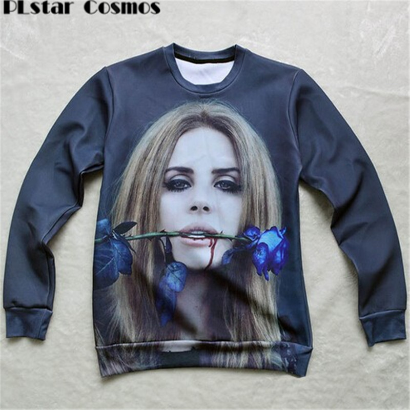 PLstar Cosmos men/women Harajuku sweat sexy Lana Del Rey Rose 3D print Pullover galaxy Sweatshirts Hoodies crop Tops size S-5XL
