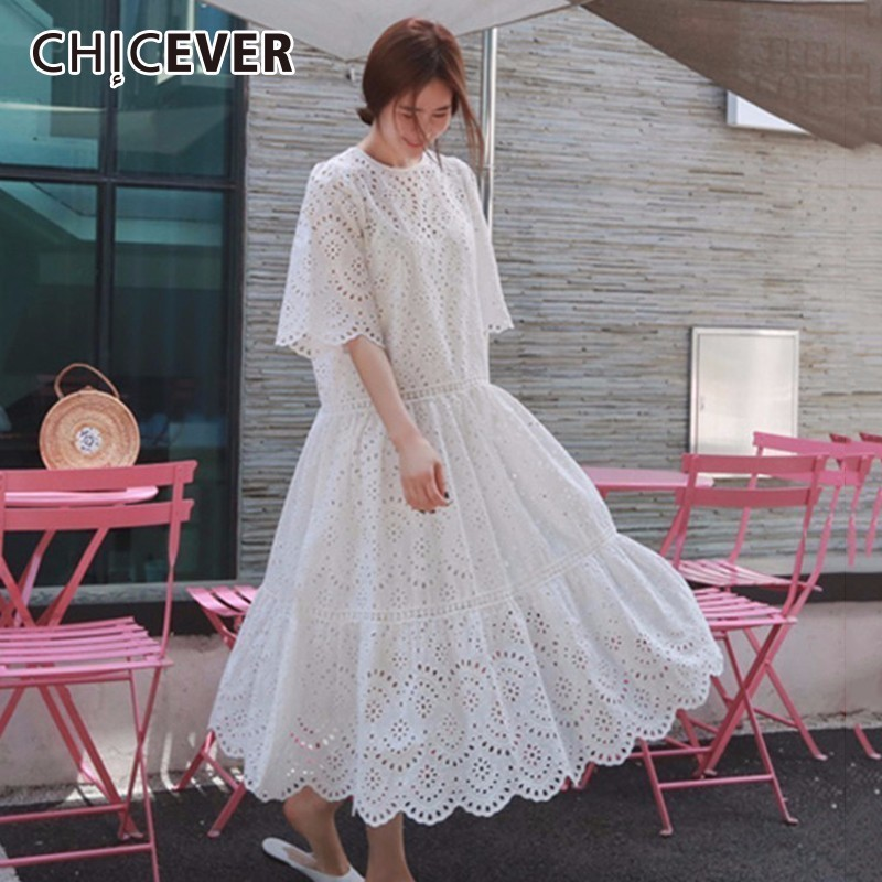 CHICEVER Hollow Out Two Piece Set Summer Three Quarter Sleeve Big Hem Elegant Dress Female Spaghetti Strap Dresses Womens Suit ...