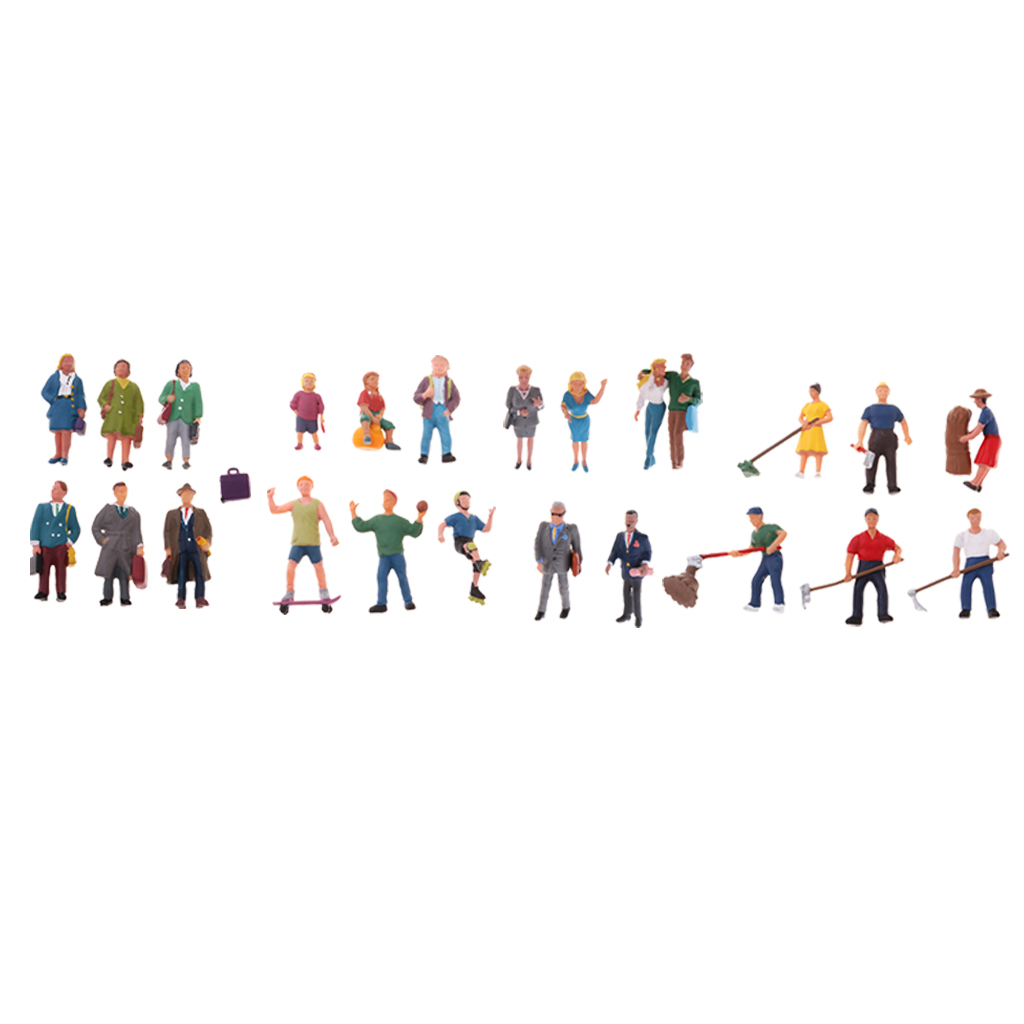 1/87 People Passenger Ation Figure Models Painted HO OO For RR Railroad Street Park Scenery Diorama Architecture