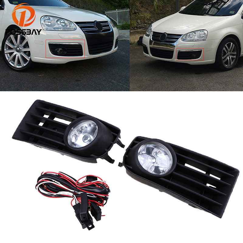 POSSBAY Car Light Fog Lights With Wire Harness Switch for 2004-2010 VW Jetta/Bora/Golf Mk5 Front Lower Bumper Fog Light Grilles for infiniti fx35 37 45 50 ex35 37 h11 wiring harness sockets wire connector switch 2 fog lights drl front bumper led lamp