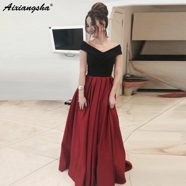 Simple Off the Shoulder V-Neckline A-Line Satin Dress vestido de fiesta Burgundy Prom Dresses Long