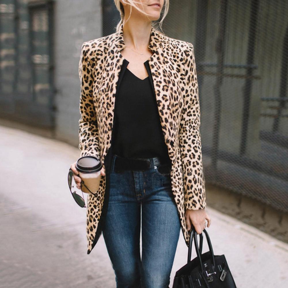 Coats Overcoat Winter Warm Hairy Lapel Women Fashion Faux Fur Leopard Coat  Outwear Female Fluffy Shaggy A1 jeans con blazer mujer