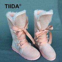 TIIDAแฟชั่นรองเท้าหิมะสูงผู้หญิงบู๊ทส์แท้100%หนังแกะหนังลูกไม้ขึ้นรองเท้ายาวธรรมชาติขนผ้าขนสัตว์ที่อบอุ่นในช่วงฤดูหนาวรองเท้า