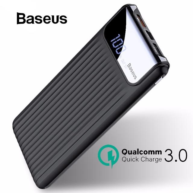 Baseus 10000mAh carga rápida USB 3,0 banco de potencia para iPhone 7 6X8 Samsung S7 Edg Xiaomi Powerbank cargador de batería QC3.0