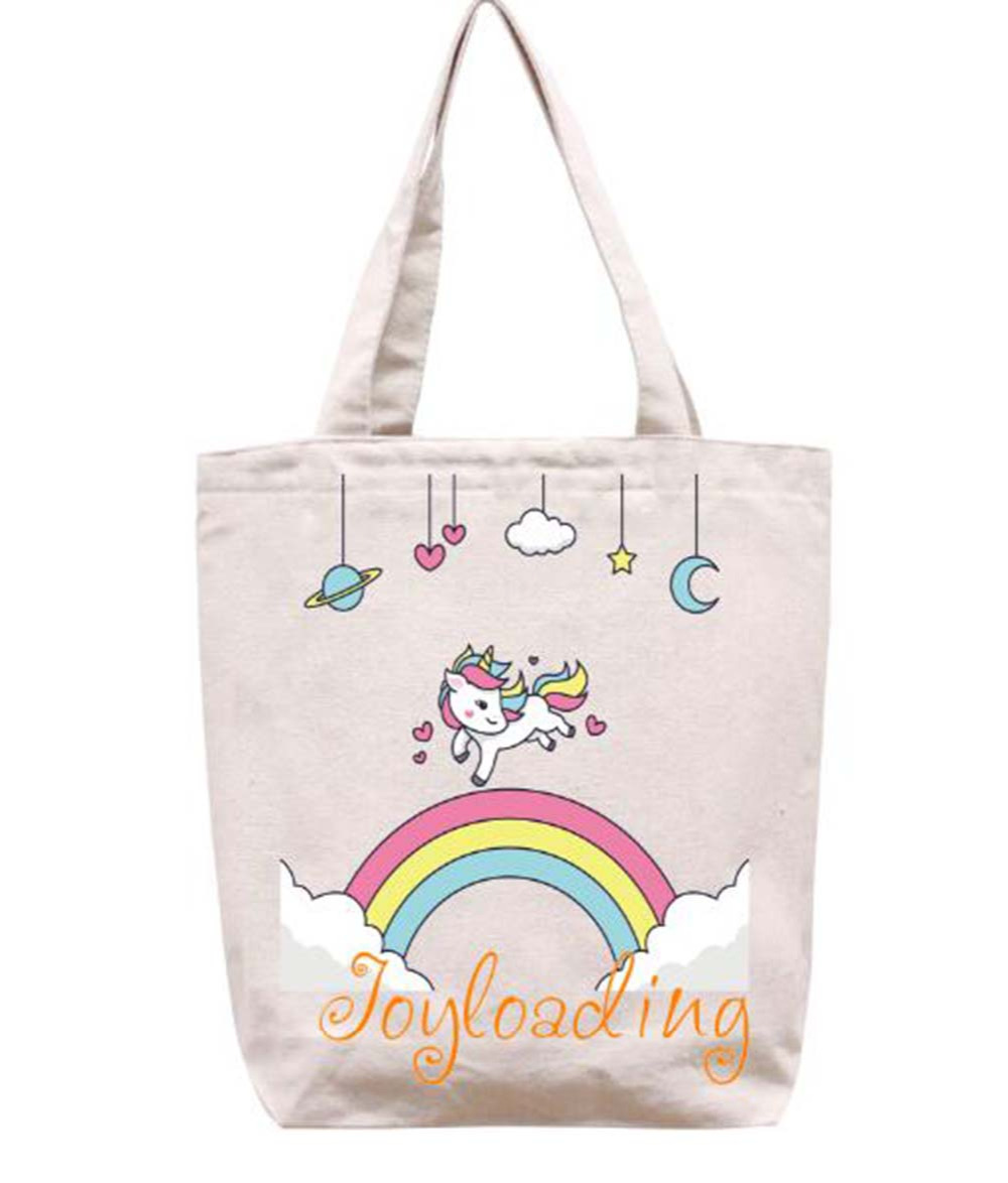 Joyloading Canvas Cartoon Cute Unicorn Design Reusable Grocery Shopping Bag Zipper Closure Foldable Tote Bag Shopping Bags Aliexpress