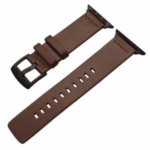 Image 2 - Italienische Fettige Leder Armband für iWatch Apple Uhr SE 38mm 40mm 42mm 44mm Serie 6 5 4 3 2 1 uhr Band Stahl Spange Band
