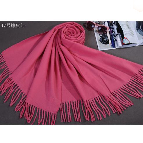 Pink Chinese Women's Faux Cashmere Wrap Winter Thick Warm Shawl Scarf Long Tassels Tippet Mujere Bufanda Size 180 x 69 cm C-003