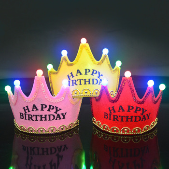 Kids Party Toys Happy Birthday Hat Led Flashing Crown Toys for Children Hats 0-3 Years Headgear Baby Girls Boys Gift