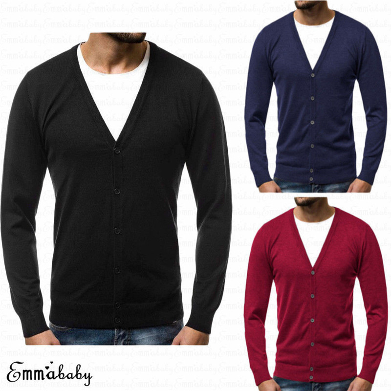 2019 New Men Long Sleeve V Neck Sweater Jumper Cardigan Sweatshirt Plain Top Plus Size 3XL Loose Solid Button Fit Knitting