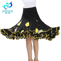 New 2016 Women Swing Latin Dance Skirt Knee Length Square Ballroom Dance Skirts Flower Sequin Practice