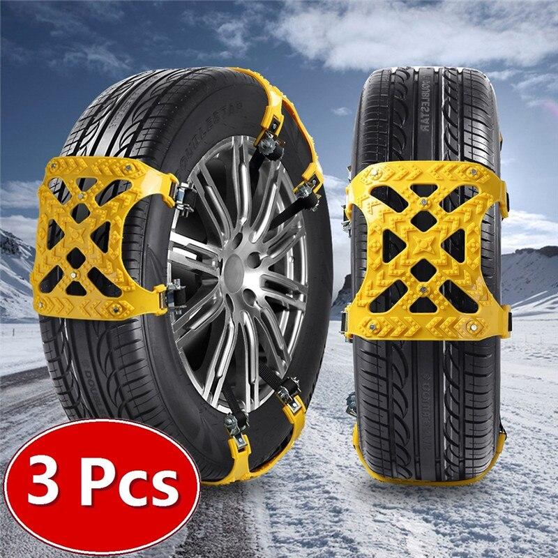 3x TPU cadenas de nieve del coche Universal de 165-265mm neumático de invierno de seguridad vial cadenas de neumáticos de nieve de escalada de barro suelo antideslizante