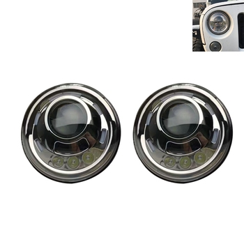 7 Inch Led Headlight H4 DRL Round 7'' Headlights with White Angel Eye For Jeep Wrangler