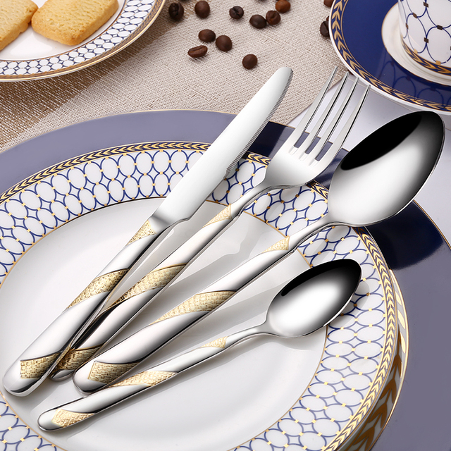 24Pcs Stainless Steel Gold Plated Cutlery Set Dinnerware Tableware & Amusing 24Ct Gold Plated Cutlery Set Pictures - Best Image Engine ...