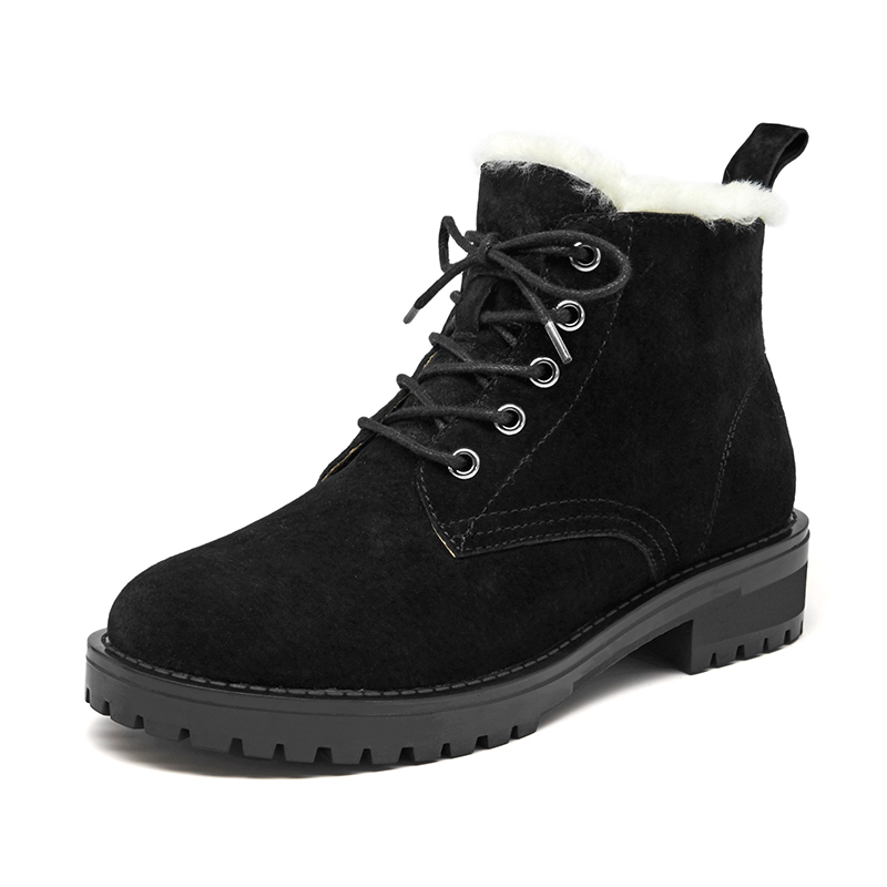 BeauToday Wool Snow Boots Women Genuine Leather Round Toe Lace-Up Platform Winter Ladies Ankle Length Shoes Handmade 03281 5