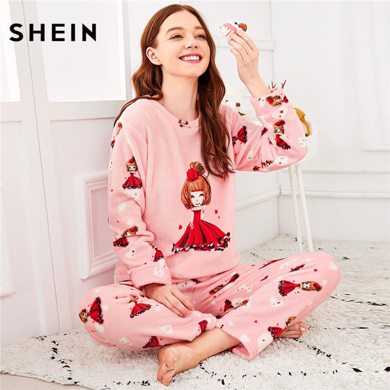 SHEIN Pink Cartoon Girl Print Plush   Pajama     Sets   Women Long Sleeve Sleepwear Autumn Winter Loungewear   Set