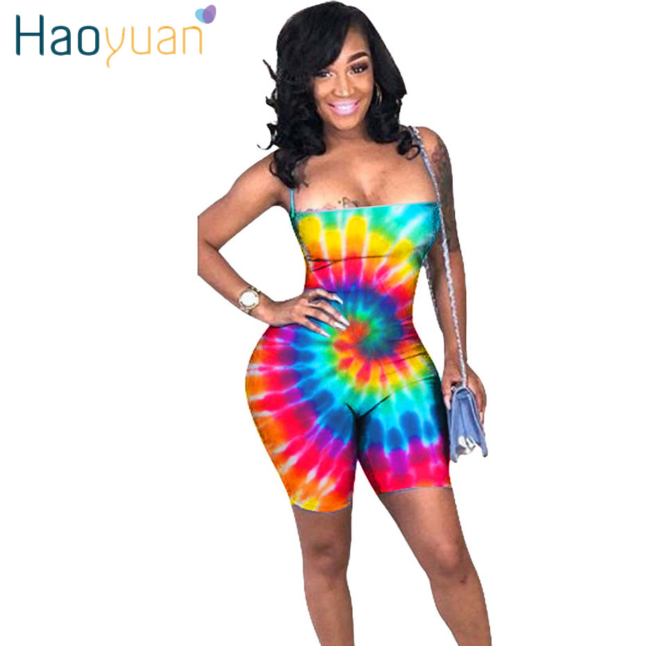 HAOYUAN Dot Colorful Tie Dye Sexy Playsuits Backless Bandage Bodysuit Summer Overalls Bodycon   Rompers   Womens Jumpsuit Shorts