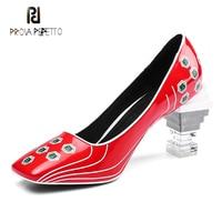 Prova Perfetto fashion new transparent strange heel women pumps red blue patent leather print square toe ladies party dress shoe