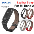 Adjustable Xiaomi Mi Band 2 Leather Strap with Metal Frame for MiBand 2 Version Smart Bracelet Xiao Mi Band Accessories5 Colors