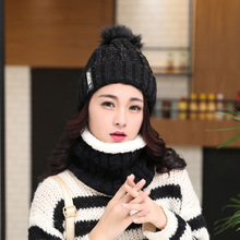 Neck warm knitted winter hat Knitted hats scarf wool women Mens Caps