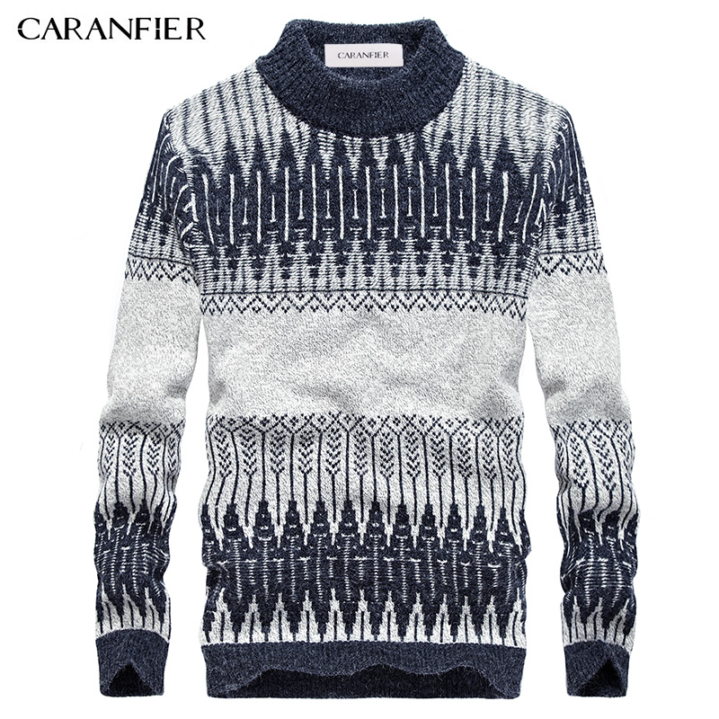 CARANFIER Winter Men Knitted Pullover Sweater Male Cotton Casual Sweater Turtleneck O Neck Slim Fit Men