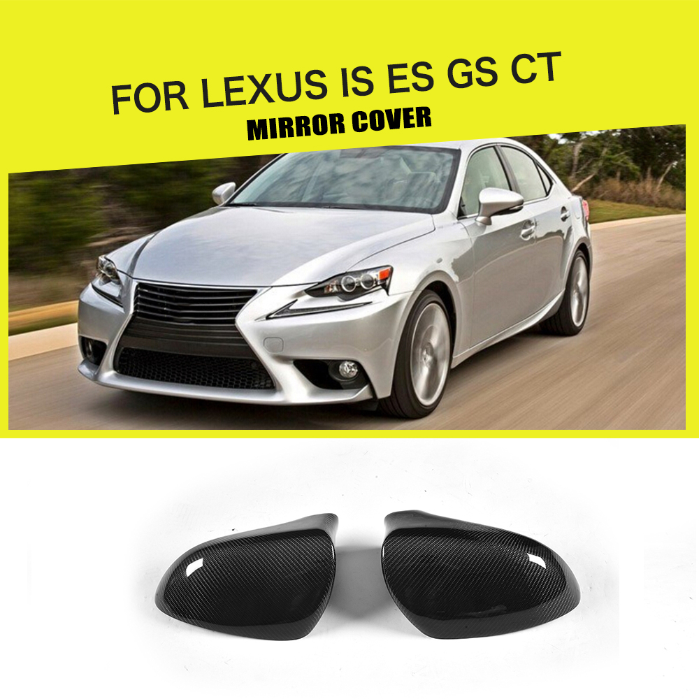 Carbon Fiber Car Rearview Mirror Covers Caps for <font><b>Lexus</b></font> IS <font><b>F</b></font> ES <font><b>GS</b></font> CT 200 300 <font><b>350</b></font> <font><b>Sport</b></font> 2013 - 2017 Left Hand Drive Add On Style image