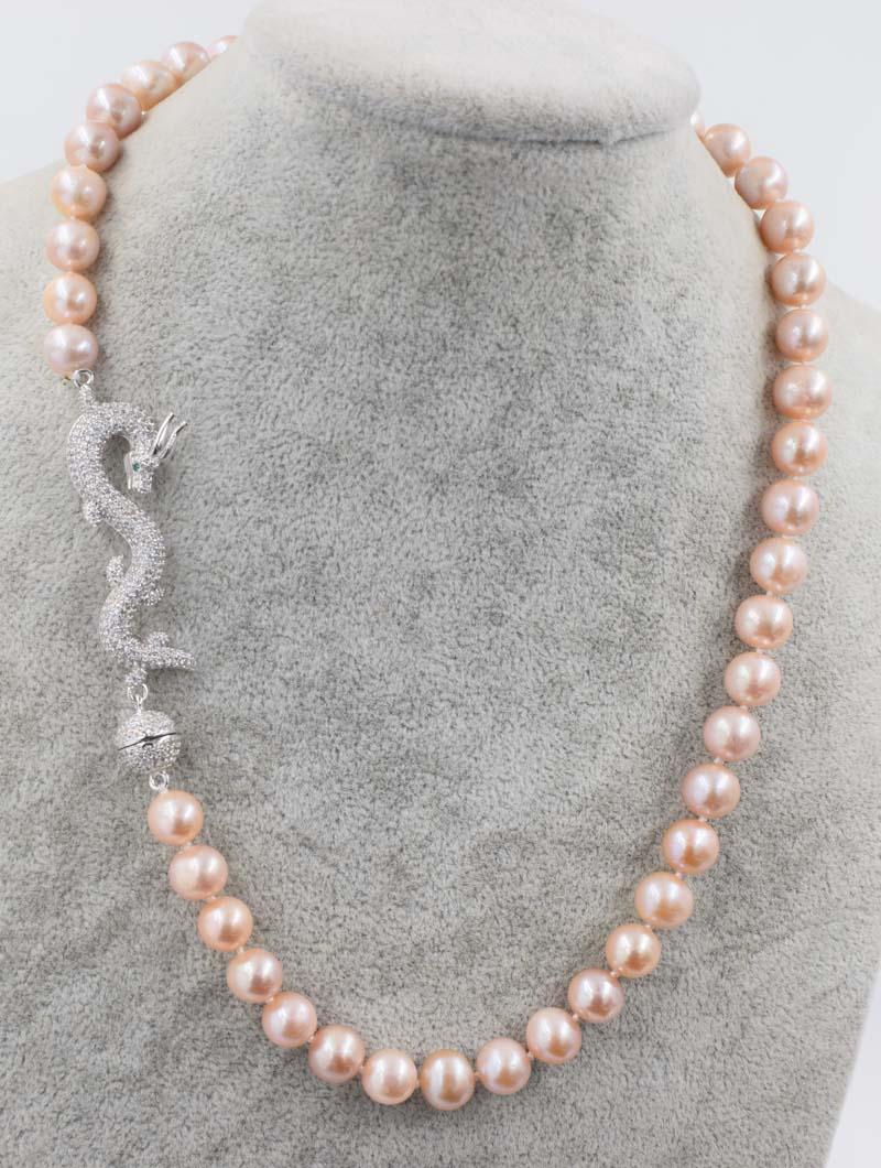 Rose pourpre près ronde 9-10mm AA perle d'eau douce collier dargon fermoir 18 pouces en gros perles nature FPPJ femme