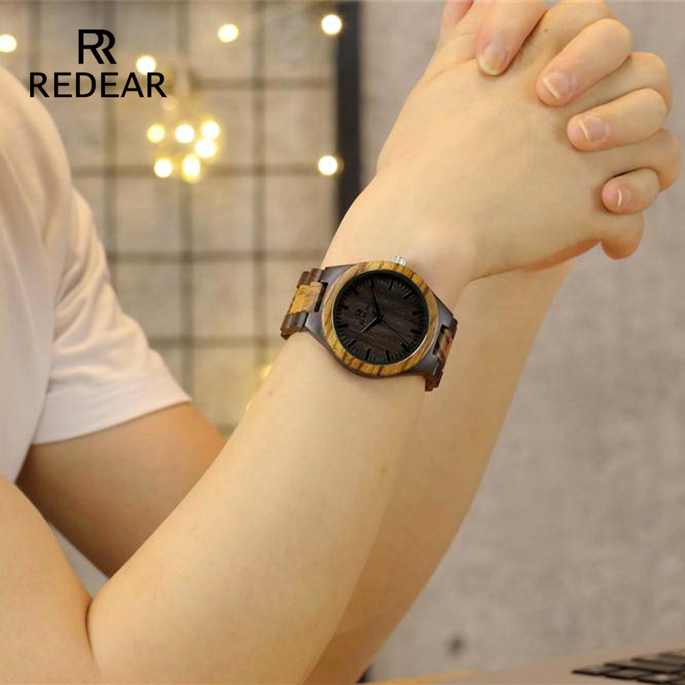 REDEAR Top Quality Wood Watch til mænd Wooden Fashion Brand Designer - Dameure - Foto 6