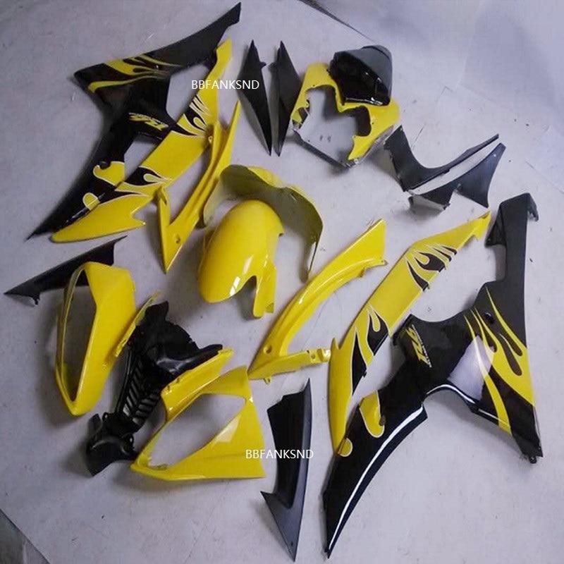 Jaune et noir moto Pour Yamaha YZF 600 R6 2008 2009 2010 2011 2012 2013 2014 YZF600R 08-14 moulage par injection