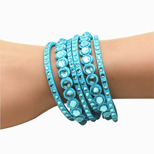 2016 New Womens Simple Cuff Leather Girls Crystal Wrap Punk Bangle Czech Rhinestone Bracelet Jewelry Gift Party