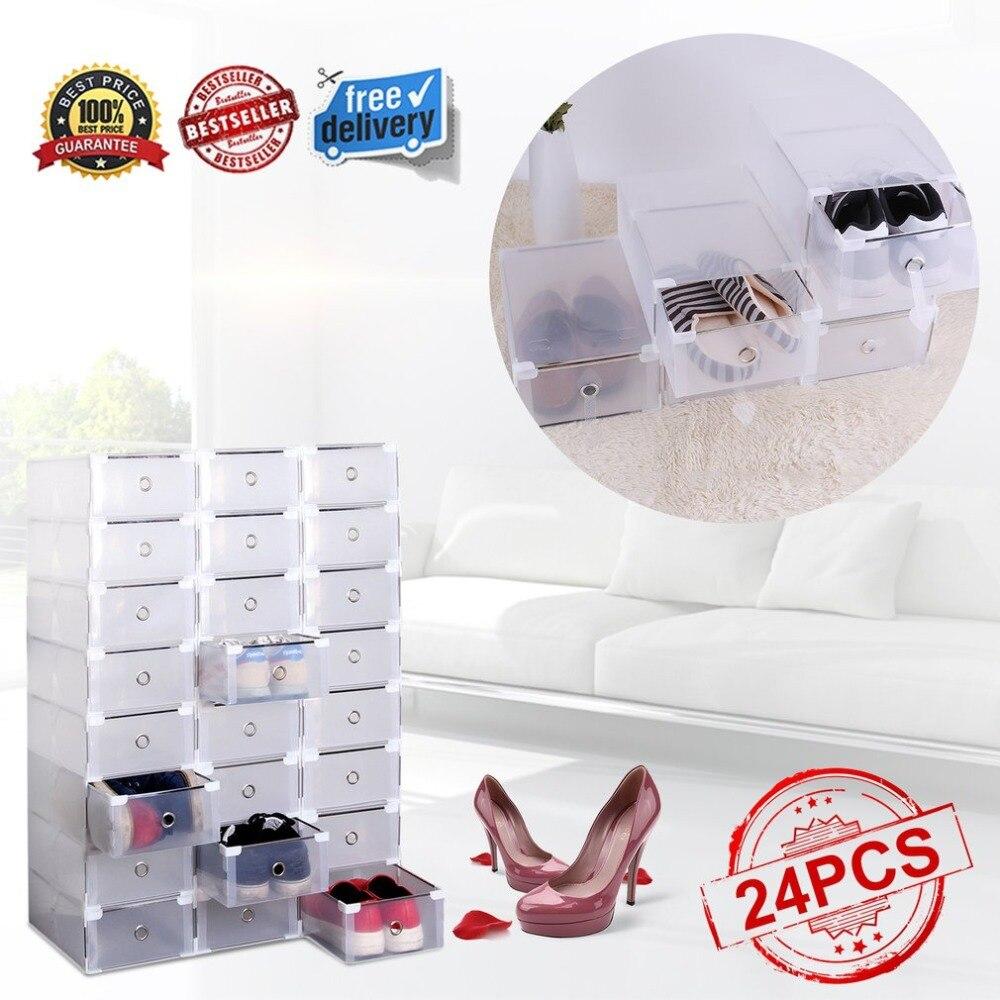 24pcs/set Foldable Plastic Shoe Boxes Universal Home Organizer Stackable Storage Drawer Transparent Home Holding Box