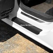 4Pcs Carbon Fiber Door Pedal Bumper 3D Scratch Protector Sill Scuff Threshold For Volkswagen VW Tiguan MK2 2017 2018 2019 threshold of article tiguan door sill 8 pcs for 2012 vw tiguan