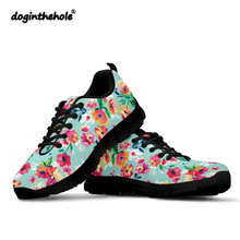 Doginthehole Walking Shoes Women Sneakers Floral Pattern Woman Sports Mesh Breathable Lightweight Outdoor Black Zapatos de mujer кабель межблочный аналоговый rca van den hul orchid 0 8 m