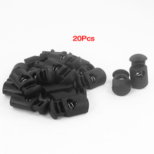 20 Pcs 8mm Dia Single Hole Tent Drawstring Shoelaces Cord Locks Black